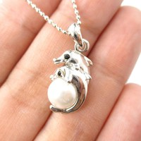 Mother and Baby Dolphin Shaped Pearl Pendant Necklace in Silver