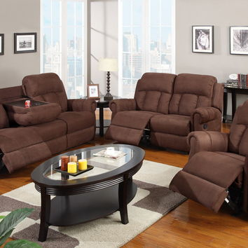 Poundex F7048-49 2 pc kathryn collection chocolate microfiber fabric upholstered sofa and love seat set with reclining ends and drop down table
