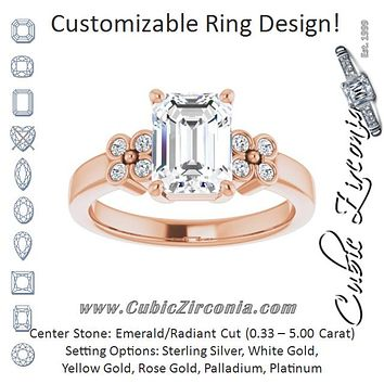Cubic Zirconia Engagement Ring- The Heidi Grethe (Customizable 9-stone Design with Emerald Cut Center and Complementary Quad Bezel-Accent Sets)
