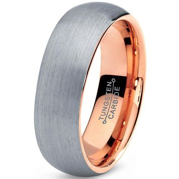7mm Silver Brushed 18k Rose Gold Plated Polished Dome Cut Tungsten
