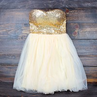 Final Sale - Quartz Strapless Sequin Party Dress in Gold