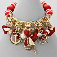 Nautical Anchor Red And Gold Stretch Bracelet