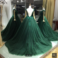 New designer 2016 lace appliques ball gown backless sexy prom dress chapel train beading sequins formal prom gowns on sale
