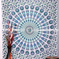 Twin Mandala wall hanging, Indian tapestry, Bohemian Bedcover, Mandala Tapestries, White Tapestries, Cotton Tapestry, Beach Sheet, Decor