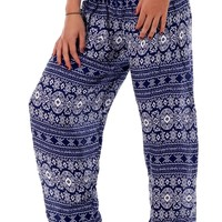 Purple Tribal Diamond Harem Pants