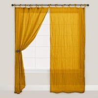 Golden Yellow Tie Top Crinkle Voile Curtains, Set of 2