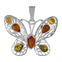 Amber Winged Butterfly Sterling Silver Pendant
