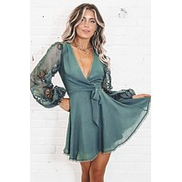 Swing On By Sage Puff Sleeve Dress