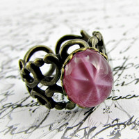 Star Ruby Ring, Ruby Red Ring, Red CZECH Glass Ring, Antiqued Brass Filigree Adjustable Ring, Upcycled Vintage Jewelry