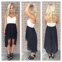 Black Hi Low & Ivory Lace Bodice Strapless Dress
