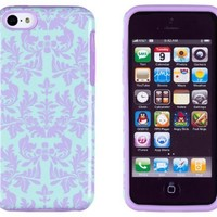 DandyCase 2in1 Hybrid High Impact Hard Sea Green Flower Pattern + Purple Silicone Case Cover For Apple iPhone 5C + DandyCase Screen Cleaner