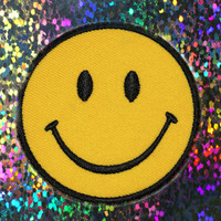 Yellow Smiley Face Patch Applique : 90's Vintage, Grunge, Patch, Iron On Patch, Jacket Patches, Appliques, Yellow Smiley Face, 90s Smiley