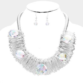 """18"""" silver wire wrap ab crystal collar necklace 1.25"""" earrings"""
