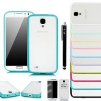 E LV Slim Fit Flex TPU+PC Case Cover for Samsung Galaxy S4 S IV i9500 with 1 Clear Screen Protector, 1 Black Stylus and 1 E LV Microfiber Digital Cleaner (Samsung Galaxy S4, Turquoise)