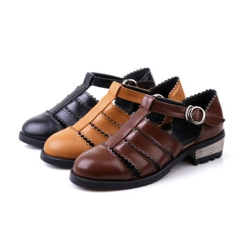 Fashion Sandals Flats Platform Buckle Women Shoes 3038