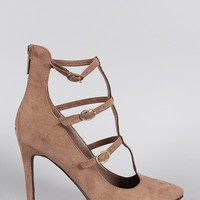 Suede Buckled Caged Pointy Toe Stiletto Pump