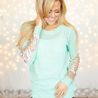 Party Sequins Patch Sweater Mint