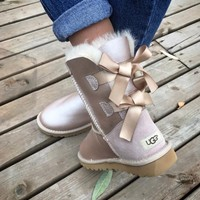 """UGG"" Fashion Winter Women Man Cute Bowknot Flat Warm Snow Ankle Boots"