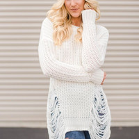 Destroyed Cable Knitted Sweater In Ivory