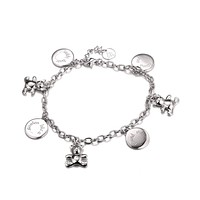 Amina Charm Bracelet, Teddy Bear and Round Charms, 925 Sterling Silver
