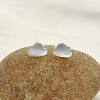 925 Sterling Silver Handcrafted Designer Cloud Stud Earring Jewelry - #1674