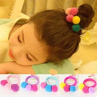 Tie Rope Bands Elastic Ball Color Head Girl Child Accessories Hair Baby 5pcs Candy Sale