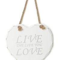'Live the life you love' hanging heart Wall Art - shop by brand - Home, Lighting & Furniture