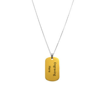 Engraved Dog Tag Necklace, Personalized Name, Date, Custom Engraving Jewelry, Gold Tone Dog Tag on Stainless Steel Chain, Gift For Him