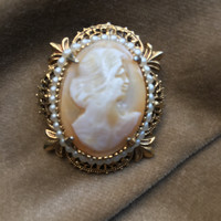 Florenza Victorian Lady Carved Shell Cameo Vintage Brooch with Seed Pearl Trim Ornate Goldtone Filigree Setting Pendant or Pin