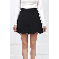 Scalloped Hem Corduroy Mini Skirt {Black}