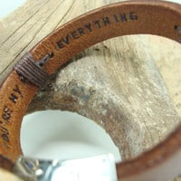 FREE SHIPPING - Mens Personalized Bracelet, Men's leather bracelet,  Brown leather and Aluminium Plate. date and Hidden Message Bracelet.