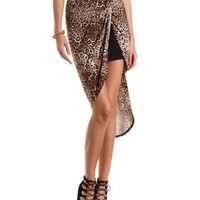 Leopard Print Knotted High-Low Skirt by Charlotte Russe