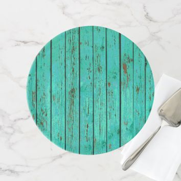TURQUOISE COUNTRY RUSTIC WOOD WEDDING CAKE STAND