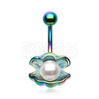 316L, 14GA,Colorline Ariel's Shell with Pearl Belly Button Ring