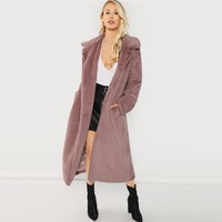 Open Front Faux Fur Teddy Coat Clothes Women Jacket Elegant Outerwear Womens Plain Long Coats