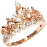 18K Rose Gold Plated Sterling Silver Princess Crown Ring