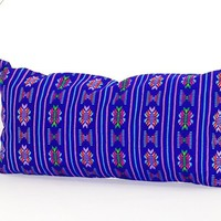 Colorful pillow cover, Royal blue Mexican Pillow, pillow case aztec boho, Fiesta decoration,