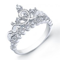 Rhodium-plated Sterling Silver Crown Rings / Princess Ring (8)