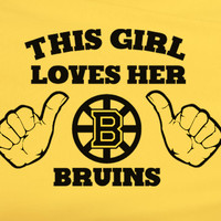 Gold Funny This Girl Loves Boston Bruins NHL Hockey Tee Tshirt T-Shirt