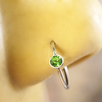 Light Green Crystal Nose Hoop or Cartilage Hoop Ring