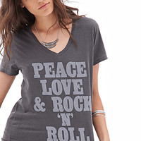 FOREVER 21 Rock N Roll Tee Charcoal/White
