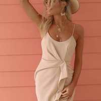 My Idea Beige Ruffle Mini Dress