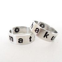 Hakuna Matata - Hand Stamped Aluminum Rings - A SET of Friendship Rings - Lion King Inspired Customizable