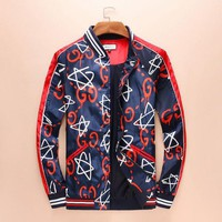 Gucci Fashion Star Zipper Cardigan Sweatshirt Jacket Coat Sportswear Blue/red
