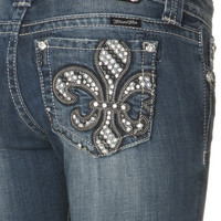 Miss Me Two Tone Trim in Black Bold Fleur De Lis Boot Cut Jean