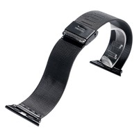 38/42mm Watch Band Strap for Apple Watch Luxury Black/Silver Stainless Steel Mesh Watchband Connector Adapter for iwatch Bands