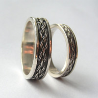 Celtic - Sterling Silver Braided Wedding Band, Unisex Ring