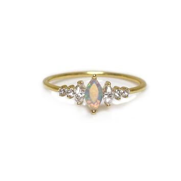 14kt Gold Opal & Diamond Ice Queen Ring