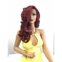 Burgundy red lace front wig - Balani