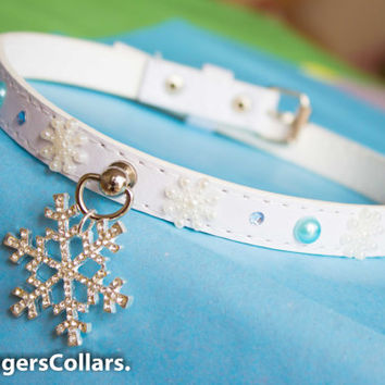 Frozen Inspired! White diamante Snowflake unique one-off Collar ddlg bdsm slave collar